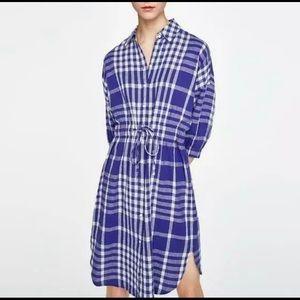ZARA Blue White Plaid Linen Shirt Dress Small